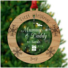 Mummy & Daddy 1st First Christmas PERSONALISED Decoration Bauble Xmas Gifts Baby