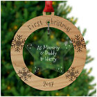 CHRISTMAS Decorations Mummy Daddy PERSONALISED Xmas Tree Bauble 1st Xmas Parents