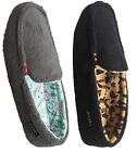 Jockey Women's Slipper Slip On Pattern Lined Loafer Slipper Moccasin Black/Gray