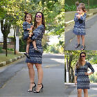 US Mother&Daughter Boho Clothes Parent-child Mini Dress Family Matching Outfits