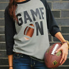 Game On Day Football Letters Printed Women's Casual T-Shirt 3/4 Sleeve Shirt