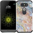 For LG G5 Marble Design Hybrid Armor Case Dual Layer Protective Phone Cover