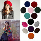 Women Sweet Solid Warm Wool Winter Beret French Artist Beanie Hat Ski Cap Hat