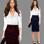 Womens Velvet Hight Waist Casual Work Business Party Sheath Bodycon Pencil Skirt
