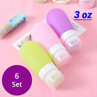 6 EMPTY Various Color & Size PE Silicone Squeeze TRAVEL BOTTLES Containers