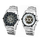 Casual Stainless Mens Skeleton Automatic Xmas Wrist Watches Gift +Key Ring image
