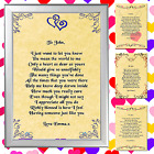PERSONALISED POEM GREAT VALENTINES DAY GIFT SET LOVE OF MY LIFE MAN WOMAN  !
