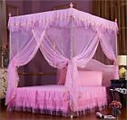 Pink 4 Corners Post Bed Canopy Mosquito Netting For Twin Full Queen Size