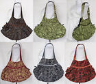 Floral Cotton w/ Shimmery Stripe Thai Shoulder Bag ZIP Closure Lining Gypsy BOHO