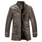 mens winter long leather jacket slim fashion leather coat