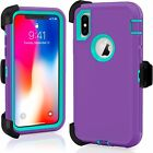 Shockproof Hard Case Cover For Apple iPhone X 10 Fits Otterbox Belt Clip Holster