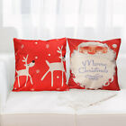 "Premium 18""Lovely Santa Claus Textured Cotton Linen Pillow Case Cushion Cover-US image"