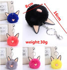 Faux Rabbit Fur Ears Style Ball Keyring Ring Car Handbag Pendant Key Chain Gift