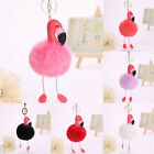 Flamingo Keychain Fluffy PU Leather Ball Key Chain Women Girls Car Bag Key Ring