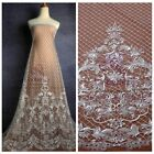 """Off white polyster clear sequins embroidery wedding dress lace fabric 51"""""""