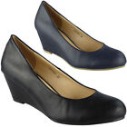Womens Wedge Court Work Shoes Mid Heel Ladies Comfy Casual Office Wedges Size