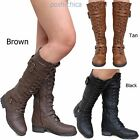 New Women Rmv Black Tan Brown Combat Military Lace Up Knee High Riding Boots