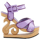 Purple Two Tone Woven Effect Buckle Slingback Wooden Look Wedges Platform Clogs