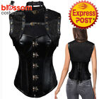 CC97 Black Steampunk Leather Gothic Corset Brocade Jacket Halloween Costume