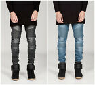 Herren Skinny Biker Jeans Destroyed  Straight Cut Clubwear Slim Fit Denim Hosen