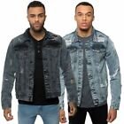 Loyalty & Faith Mens Button Up Distressed Denim Jacket Ripped Outerwear Coat