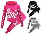 Girls Hooded Star Fashion Set Suit Stretch Leggings Clothes Outfit Age 7-13 Year