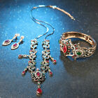 Luxury Vintage Turkish Style Red CZ Mix Rhinestone Unique 4 Pc Jewelry Set Her's