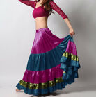 Violet Red Teal Olive Green Satin 6 Yard Tiered Gypsy Skirt Belly Dance