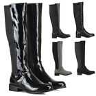 New Womens Flat Low Heel Knee High Ladies Zip Buckle Stretch Leg Calf Boots Size