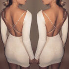 Women's Bandage Bodycon Long Sleeve Club Party Cocktail Mini Dress Backless