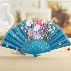 Chinese Style Dance Wedding Party Lace Silk Folding Hand Held Flower Fan Decor