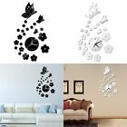 3D DIY Butterfly Flower Sticker Home Living Room Decor Mirror Wall Clock ILC New