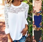 Women 3/4 Ruffle Sleeve T Shirt Lace Chiffon Top Ladies Casual Loose Blouse UK