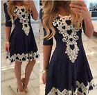 Women Lace Half Sleeve Party Evening Cocktail Short Mini Dress Casual Dress ILC