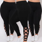 Women Plus Size L Xl 2x 3x Criss-cross Soft Comfort Skinny Leggings Pants Usa