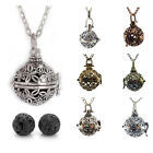Vintage Style Essential Oil Diffuser Locket Pendant Necklace with 2 Lava Beads