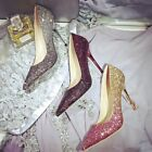 Women Pumps Stiletto High Heel Party/Wedding Shoes Sequins Diamond Free Shipping