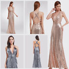 US Sexy Sequins Rose Gold Celebrity Prom Gown Formal Evening Party Dresses 07109