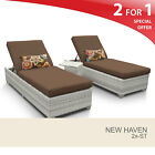 New Haven Chaise Set of 2 Outdoor Wicker Patio Furniture With Side Table 2 for 1