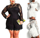 Sexy Women Long Sleeve Foral Lace Romper Jumpsuit One Piece