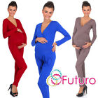 Внешний вид - Ladies Maternity Wrap Jumpsuit With Pockets V Neck Playsuit Sizes 8-18 FM16