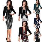 Womens Vintage Faux Jacket One-Piece Wear To Work Office Bodycon Sheath Dress