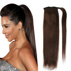 Straight Clip in Human Hair High Ponytail 100% Real Human Hair Extension 80g