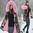 Aofur Women Thigh-Length Coat Warm Faux Fur Hooded Jacket Parka For New Year