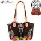 Montana West Belt Buckle Collection Leather Concealed Carry Handbag 3D Flowers