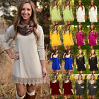 USA New Women Long Sleeve Solid Cotton Lace Casual Party Tun