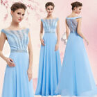 Ever-pretty Blue Long Beaded Off-shoulder Evening Party Dresses Bridesmaid 08736