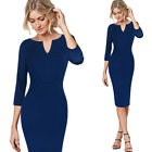 Womens Elegant Notch V Neck Patchwork 3/4 Sleeve Work Office Party sheath Dress