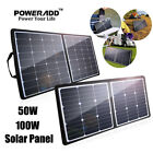 Poweradd 50W 100W Foldable Solar Panel 5V 12V 18V Battery Charger For Home Boat