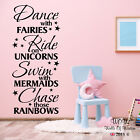 Dance With Fairies Ride With Unicorns Wall Sticker Decal Children Teenager Quote